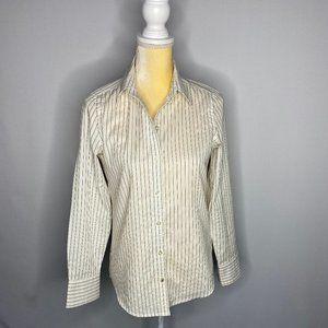 Banana Republic Shirt Button Down White Brown XS